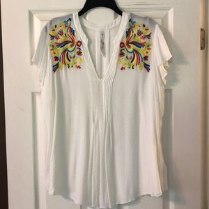 Melissa McCarthy Embroidered Summer Blouse 1X/2X